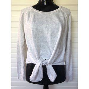 ASOS Ocean Drive Crop Tie Front Sweater Grey
